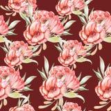 Wzór z czerwonymi kwiatami Obrazy Royalty Free