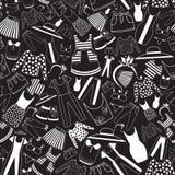Wzór z damy odzieżą w czarno biały palecie Obraz Stock