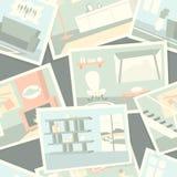 Wzór z domowymi wewnętrznymi fotografiami Fotografia Royalty Free