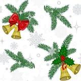 Wzór z dzwonami i sosen gałązkami Obraz Royalty Free