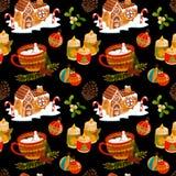 Wzór z filiżanką śnieżny i imbirowy chleba dom ilustracji