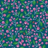 Wzór z jagodami i gałąź liśćmi Zdjęcie Stock