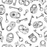 Wzór z kłódki i klucze Obrazy Stock
