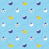 Wzór z kaczątkami i statkami Zdjęcie Royalty Free