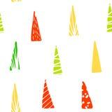 Wzór z kolor abstrakcjonistycznymi jedlinami na białym tle Fotografia Royalty Free