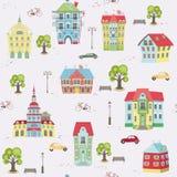 Wzór z kolorowymi domami Obraz Royalty Free