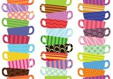 Wzór z kolorowymi herbacianymi filiżankami ilustracja wektor
