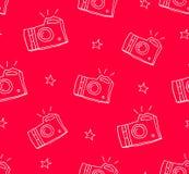 Wzór z konturowymi elementami: kamera, gwiazdy Ornament dla tkaniny i opakowania Wektorowy tło Zdjęcia Stock