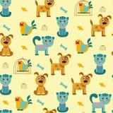 Wzór z kotami, psami i ptakami, Obrazy Stock