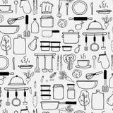 Wzór Z Kreskowa ręka Rysującym Doodle kucharstwa Wektorowym setem Zawiera Kulinarnego wyposażenie Obrazy Stock