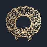 wzór z kwiecistym koronkowym ornamentem dla Bożenarodzeniowej kolekci Zdjęcie Royalty Free
