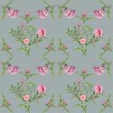 Wzór z liśćmi i różami royalty ilustracja