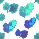 Wzór z liścia bezszwowym błękitem na bielu Wektorowy Illustratio Fotografia Royalty Free
