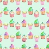 Wzór z muffins Zdjęcia Royalty Free