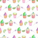 Wzór z muffins, wapnem i cukierkiem, Fotografia Stock
