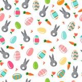 Wzór z ornamentacyjnymi jajkami i królikami ilustracja wektor