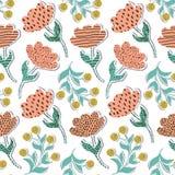 Wzór z papierowymi tulipanami royalty ilustracja