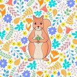 Wzór z pomarańczową wiewiórką i kwiatami ilustracja wektor