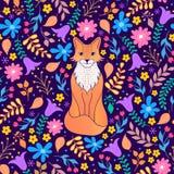 Wzór z pomarańczowym lisem i kwiatami royalty ilustracja