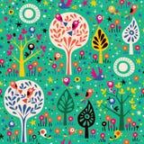 Wzór z ptakami w drzewach Zdjęcia Royalty Free
