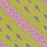 Wzór z różowymi pociągany ręcznie liśćmi ilustracja wektor