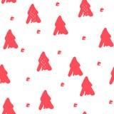 Wzór z ręka remisu menchii drzewami na białym tle Zdjęcie Royalty Free