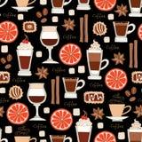 Wzór z ręka rysującą kawą na czarnym kolorze Obraz Royalty Free