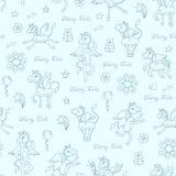 Wzór z ręka rysującym Pegasus na błękitnym kolorze Zdjęcia Stock