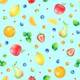 Wzór z ręki rysować ślicznymi akwareli jagodami i owoc Obrazy Royalty Free