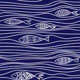 Wzór z ręki rysować ryba Zdjęcia Stock
