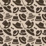 Wzór z roczników kapeluszami Zdjęcie Royalty Free