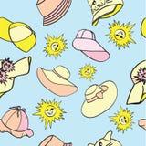 Wzór z samiec, kobiety i dzieci ` s kapeluszami dla ochrony od słońca, royalty ilustracja