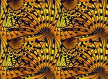 Wzór z stylizowanymi głębokimi błękitnymi i złocistymi abstrakcjonistycznymi piórkami Zdjęcia Stock