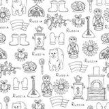 Wzór z symbolami Rosja na białym kolorze Obraz Royalty Free