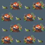 Wzór z sypialnym dziecko lisem, pieczarkami i Fotografia Royalty Free