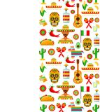 Wzór z tradycyjnymi Meksykańskimi atrybutami ilustracja wektor