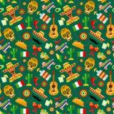 Wzór z tradycyjnymi Meksykańskimi atrybutami ilustracji