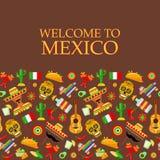 Wzór z tradycyjnymi Meksykańskimi atrybutami zdjęcia royalty free