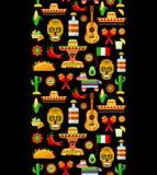 Wzór z tradycyjnymi Meksykańskimi atrybutami zdjęcie stock