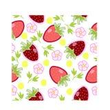 Wzór z truskawkami i kwiatami Obraz Stock
