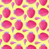 Wzór z truskawkami i lody ilustracja wektor