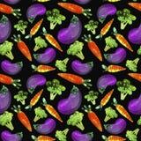 Wzór z warzywami, marchewkami, brokułami i oberżyną, ilustracja wektor