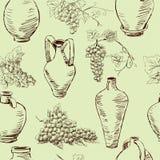 Wzór z winogronem i dzbankami Obrazy Stock