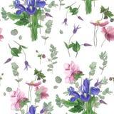 Wzór z wiosna kwiatami, akwarela obraz ilustracja wektor