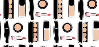 Wzór z wizerunkami kosmetyki, kosmetyki dla skóry opieki, dekoracyjni kosmetyki w wektorze, Nakreślenie wizerunku styl Zdjęcie Stock