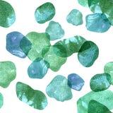 Wzór z wizerunkiem kamienie pod wodą, zalewająca akwareli tekstura błękitni, purpurowi, błękitni i zieleni odcienie, Fotografia Stock