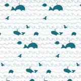 Wzór z wizerunkiem wieloryby na białym tle Obraz Royalty Free