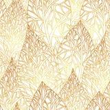 Wzór z złocistymi liśćmi Obrazy Royalty Free