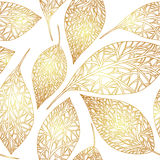 Wzór z złocistymi liśćmi Obraz Royalty Free