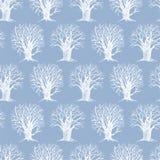 Wzór z zima drzewami Zdjęcie Royalty Free
